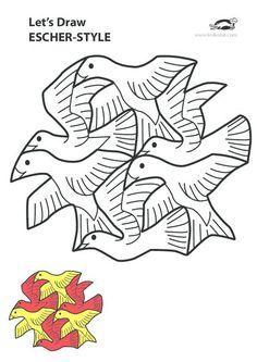 The Klokhuis - Escher - kunst Mc Escher Art, Escher Kunst, Bird Coloring Pages, Art Optical, Math Art, Graffiti, School Art Projects, Middle School Art, Collaborative Art