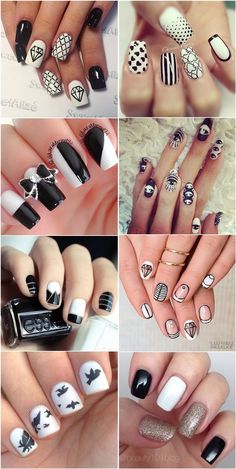 Black and white nail art desgins and ideas. black and white nail art desgin Frensh Nails, Diy Nails, Hair And Nails, Fancy Nails, Cute Nails, Pretty Nails, Black Nail Designs, Cool Nail Designs, Black And White Nail Art