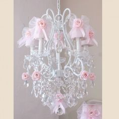 how to drape tulle above baby cribs | Home > 5 Light Chandelier with Pink Tulle Bow Shades