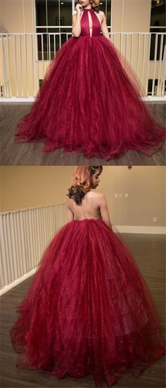 Prom Dress Ball Gown, Sexy Prom Dresses Ball Gown Halter Open Back Burgundy Long Prom Dress Chic Evening Dress SuZhou Prom Sexy Ballkleider Ballkleid Neckholder Open Back Burgund Langes Abendkleid Schickes Abendkleid Affordable Evening Dresses, Unique Prom Dresses, Prom Dresses 2017, Formal Evening Dresses, Bridesmaid Dresses, Dress Formal, Dress Long, Wedding Dresses, Formal Prom