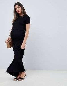 e80a299f82e9d ASOS DESIGN Maternity Nursing double layer maxi dress Maternity Tops,  Maternity Fashion, Maternity Jumpers
