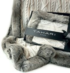 Amazon.com: Chunky Cable Knit Throw with Faux Fur Trim Freya Knitted Sweater Blanket in Winter White and Chinchilla Grey: Bedding & Bath