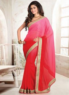 Pink Shade Border Saree