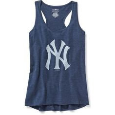 Old Navy MLB Team Racerback Tank For Women ($18) ❤ liked on Polyvore featuring tops, racerback tank top, blue jersey, fitted tank tops, scoop neck tank and major league baseball jerseys