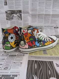 Awesome Vintage Graffiti Pop Art Style High Top by UpcycledEdge, $30.00