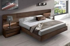 Made in Spain Wood High End Platform Bed with Extra Storage - Cascada contemporary European bedroom set. Chic, stylish, and comfortable, the Cascada bed set is t - Wood Bed Design, Bedroom Furniture Design, Modern Master Bedroom, Master Bedroom Design, Minimalist Bedroom, Bed Furniture, Sofa Design, Luxury Furniture, Bedroom Decor