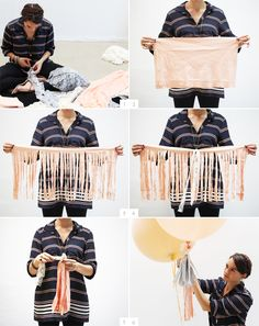 DIY: balloon fringe  {tip--you need an extra large balloon to hold the weight of the fringe}