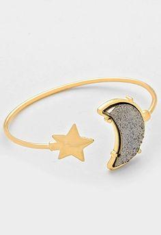 Druzy Crescent Moon & Star Cuff Bracelet - Hematite