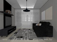 Sala de TV minimalista. http://dicasdearquitetura.com.br/paredes-para-combinar-com-preto-cinza-e-areia/