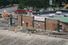 Work continues around existing structures on the third-base side of PNC Field.