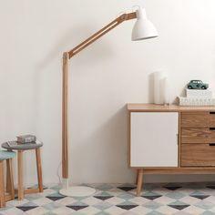 Lámpara de pie de madera y metal ...