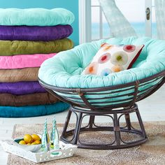 "The Pier 1 Papasan -- color pad shown is their ""turquoise""  I believe. I don't necessarily want the papasan but the color is close to what I have in mind"