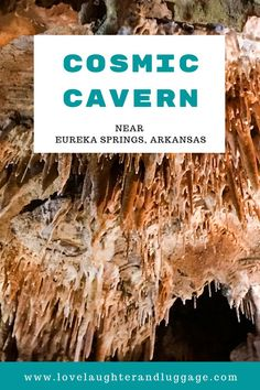 When visiting Eureka Springs Arkansas and the surrounding area in the U. be sure to check out Cosmic Cavern. This private cave offers tours that give you a glimpse of what's under the surface in Arkansas. Canada Travel, Travel Usa, Travel Tips, Travel Destinations, Travel Ideas, Travel Articles, Amazing Destinations, Japan Travel, Budget Travel