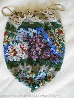 Antique Victorian Edwardian Violet Blue Floral Micro Bead Crochet Reticule Purse