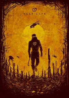 'Half-life ' Poster by A Zaytseva Half Life Game, Life Logo, Life Poster, Video Game Art, Video Games, Fanart, Life Tattoos, Concept Art, Character Concept