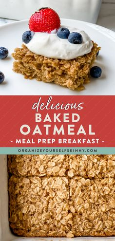 Baked oatmeal is a wholesome, delicious, easy-to-prepare healthy breakfast recipe made with simple pantry ingredients. Stir in fresh fruit, slather with yogurt, or enjoy it with a drizzle of maple syrup. Make a pan on Sunday for a tasty breakfast all week. Organize Yourself Skinny Healthy Breakfast Meal Prep | Skinny Recipes | Healthy Oatmeal Recipes Healthy Oatmeal Recipes, Healthy Freezer Meals, Healthy Breakfasts, Skinny Recipes, Healthy Breakfast Recipes, Healthy Snacks, Snack Recipes, Easy To Make Breakfast, Breakfast On The Go