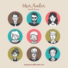 Doodles user avatars Free Vector