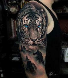 by Artista IG: desconocido . the_art_of_tattooing - Tatuajes Tiger Hand Tattoo, Hand Tattoos, Mens Tiger Tattoo, Animal Sleeve Tattoo, Lion Tattoo Sleeves, Lion Head Tattoos, Full Sleeve Tattoos, Tattoo Sleeve Designs, Animal Tattoos