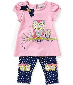Rare Editions Baby Girls 3-24 Months Owl-Appliqued Tunic & Printed Leggings Set