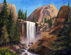 Vernal falls in Yosemite National Park - painting - Jeff Pittman Art Mural Painting, Oil Painting On Canvas, Yosimite National Park, Vernal Falls, Waterfall Paintings, Landscape Paintings, Art Paintings, Southwest Art, Painting Lessons