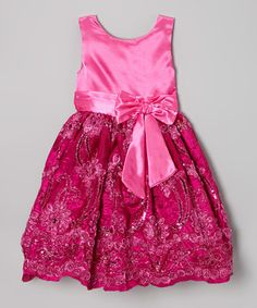 Look what I found on #zulily! Fuchsia Sequin Bow A-Line Dress - Infant, Toddler & Girls by Kid Fashion #zulilyfinds