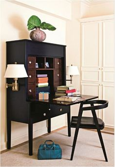 Stylish secretary cabinet allows for placement of a discreet #homeoffice almost anywhere!