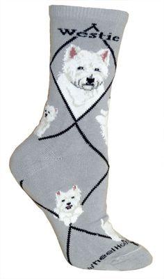 West Highland Terrier Westie Dog Breed Novelty Socks Gray