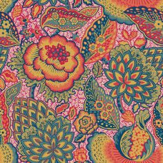 Patricia Anne Spice wallpaper by Liberty Fabrics it has such a boho feel and the colors are bright oh so alive. Liberty of London still has game.