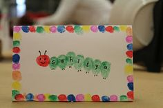 Fingerprint placecards for Very Hungry Caterpillar party