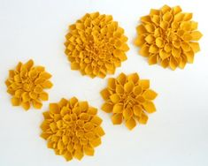Dahlias are so pretty when they are white or cream. This could also look like the succulents you like if you did them in green. I would not do them in felt though...