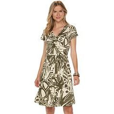 Women's Chaps Leaf Surplice Fit & Flare Dress