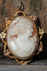 Vintage 1 20 12kt Gold Filled Hand Carved Shell Cameo Pendant Pin | eBay