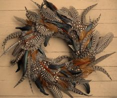 Feather Wreath Rooster Pheasant and Peahen by theNestatWindyCorner