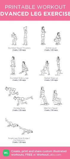 ADVANCED LEG EXERCISES: my custom printable workout by @WorkoutLabs #workoutlabs #customworkout