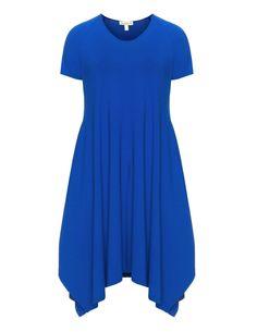 Isolde Roth Langes Jersey-Kleid in Saphir-Blau