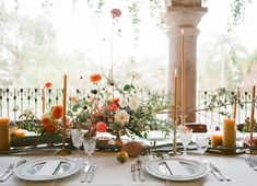 Jose Villa Mexico Workshop Week Two Welcome Dinner Wedding Table Centres, Wedding Reception Decorations, Table Decorations, Wedding Tables, Flower Decorations, Thanksgiving Table Settings, Holiday Tables, Christmas Tables, Bright Wedding Colors