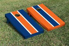 Orange & Blue Striped Cornhole Boards Game Set (Alternating)