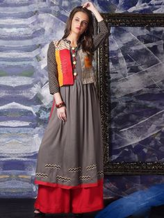 Shop Cotton grey festive wear kurti online from G3fashion India. Brand - G3, Product code - G3-WKU0678, Price - 2875, Color - Grey, Fabric - Cotton,
