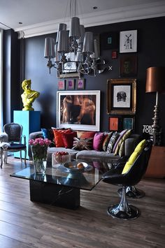 Home Design and Interior Design Gallery of Natural Pop Art And Art Deco London Apartment Dark Living Rooms, My Living Room, Living Room Decor, Living Spaces, Modern Living, Dining Room, Living Area, Modern Sofa, Small Living