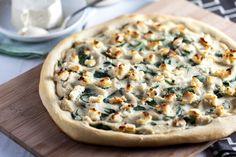 Roasted Garlic White Pizza with Macadamia Ricotta Salata