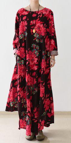 Floral oversized linen maxi dress fall cotton dresses