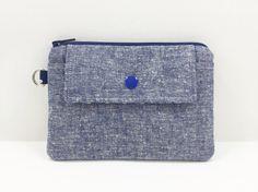Denim Blue Coin Purse Mini Wallet Padded Zipper by ZestyNotion