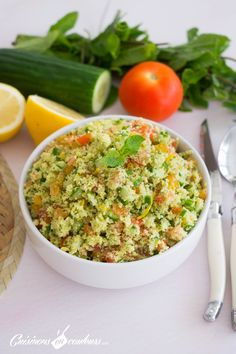 Taboulé express - Cuisinons En Couleurs Salad Sandwich, Salad Bar, Mayonnaise, Healthy Cooking, I Foods, Quinoa, Risotto, Entrees, Grains