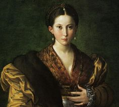 Detail of the famous full length portrait called 'Antea' by Parmigianino ca. 1524-27