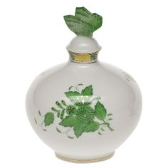 'Herend Perfume Bottle'  [Chinese Green]    [Brush your fingers along Herend's smooth white porcelain body and hand painted designs, and sense the passion of great sculptors, master painters and visionary designers imbued in every piece they lovingly craft. This lovely and functional piece is delicate and beautiful. Store your fine perfume in a vessel that is a keepsake in its own right.]