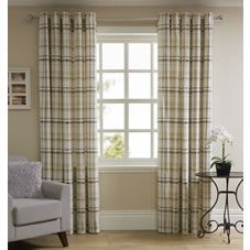 Add colour and texture to your living space with our Printed Check Curtains. The natural coloured check curtains are crafted from panama fabric with a polycotton lining, adding style and warmth to your home. The eyelet curtains are so easy to hang on a curtain pole. <BR> <BR>Washing instructions: Machine wash separately. Always read the label.