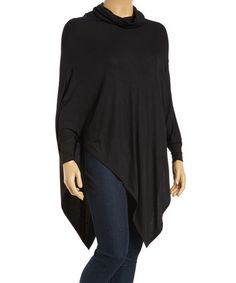 Love this Black Cowl Neck Poncho - Plus on #zulily! #zulilyfinds