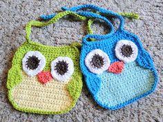 Free pattern for Crochet baby owl bibs~