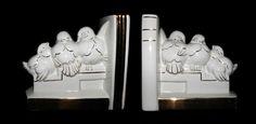 Ampara-livros art déco com três passarinhos