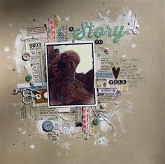 Splotches of white on kraft paper... layout for Kraft it Up..by Gina Rodgers